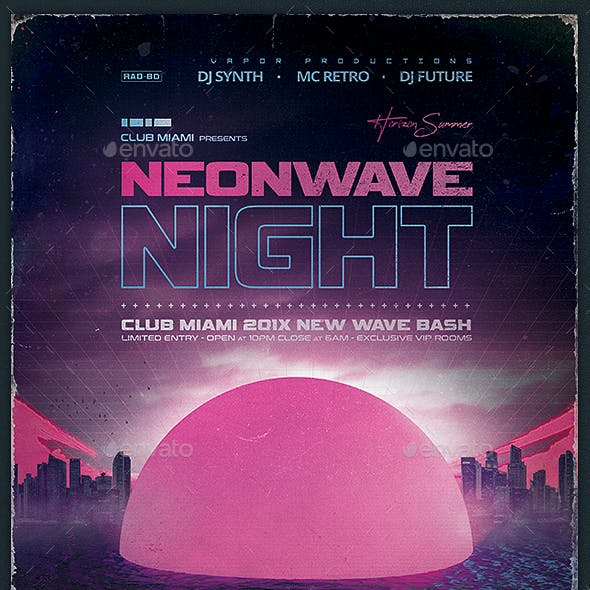 Retrowave Night 1980s VHS Synthwave Template