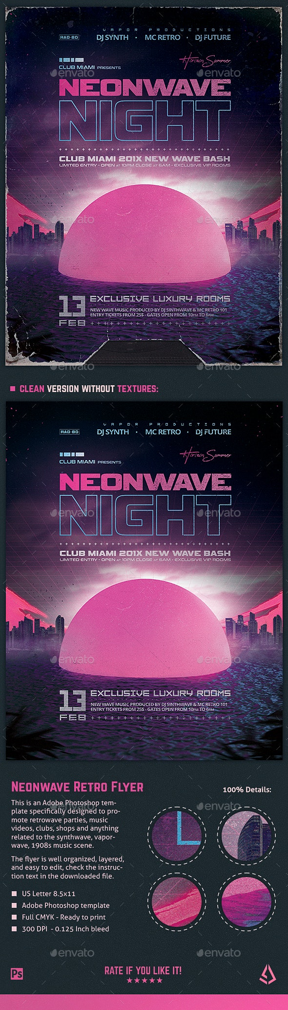 Retrowave Night 1980s VHS Synthwave Template - Clubs & Parties Events