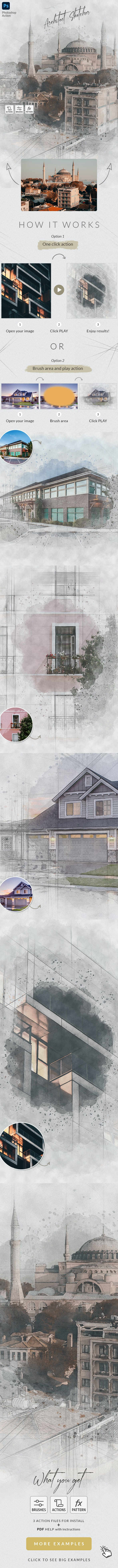 Architect Sketcher - Photoshop Action - Photo Effects Actions