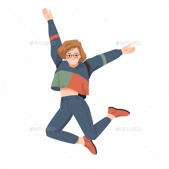 Happy European Woman Jumps Leaps of Joy