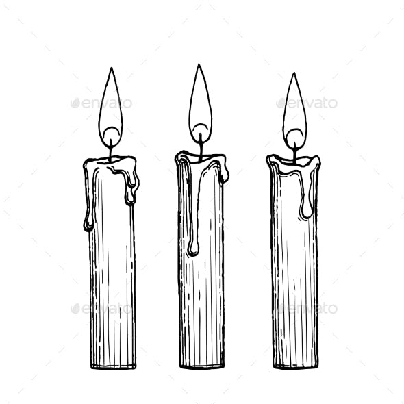 Ink Sketch of Burning Candles