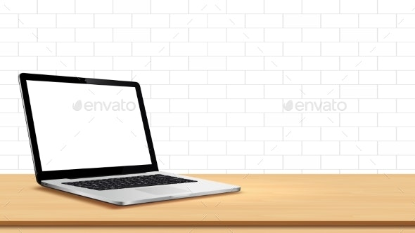 Laptop on Table Against White Wall - Computers Technology