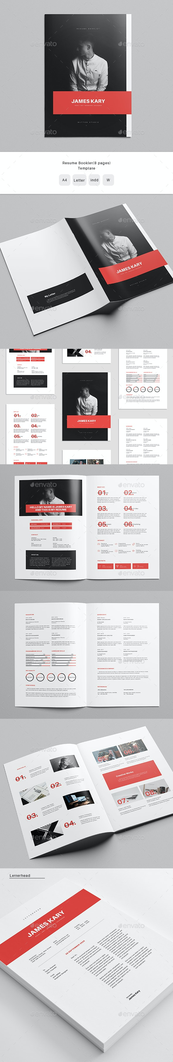 Resume Booklet (8 pages) Template - Resumes Stationery