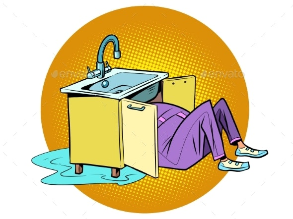 Plumber To Repair the Kitchen Sink - People Characters