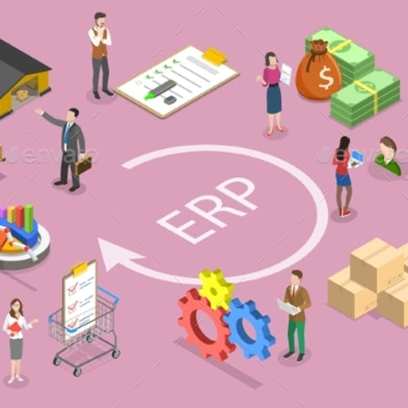 3D Isometric Vector Conceptual Illustration of ERP