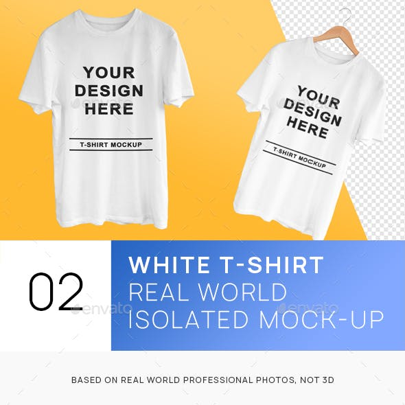 White Isolated T-Shirts on Hanger and Clean Mockups
