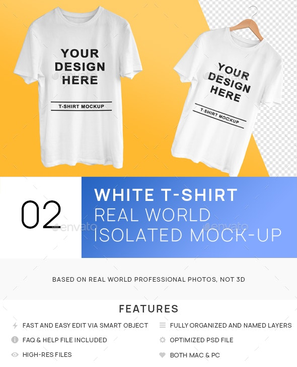 White Isolated T-Shirts on Hanger and Clean Mockups - T-shirts Apparel