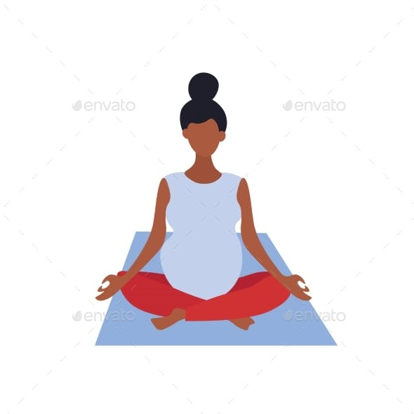 A Pregnant Woman Is Sitting in the Lotus Position