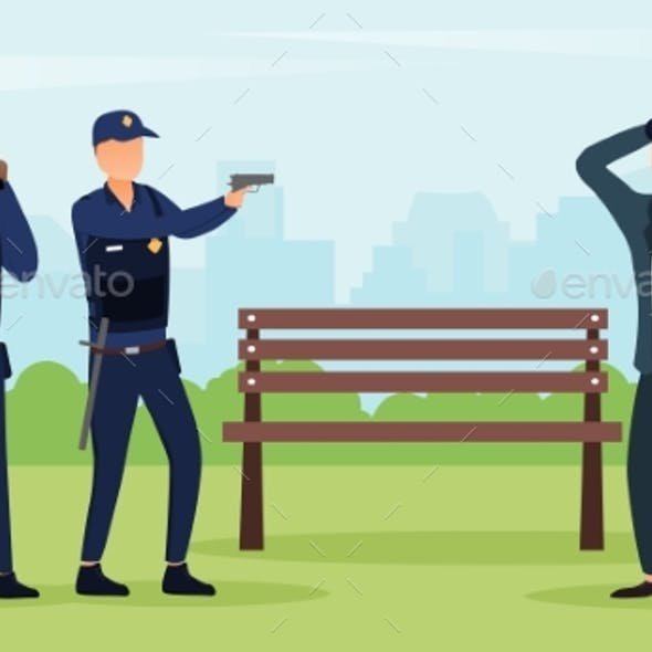 Police Officers Arresting Criminal