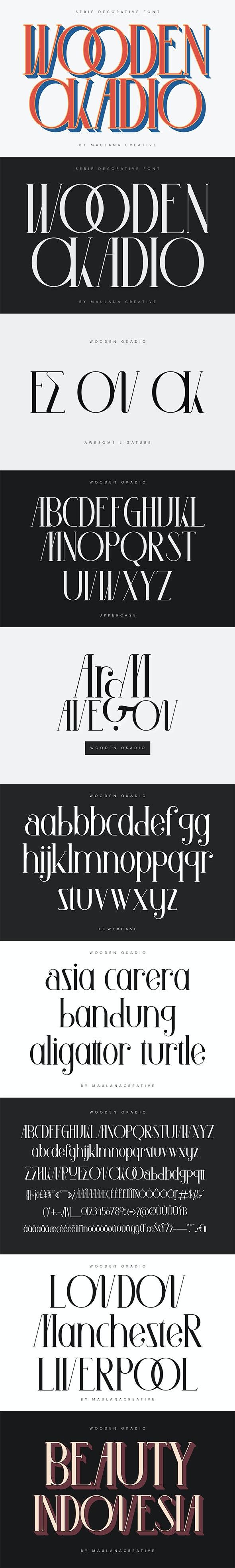 Wooden Okadio Serif Decorative Font - Serif Fonts