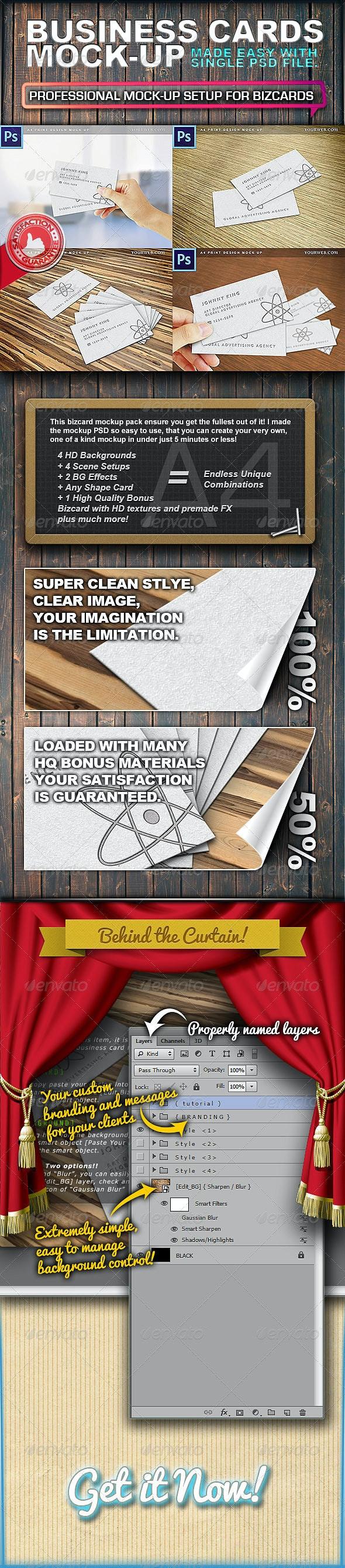 A4 Print 4 Styles Bizcard Mock Ups - Business Cards Print