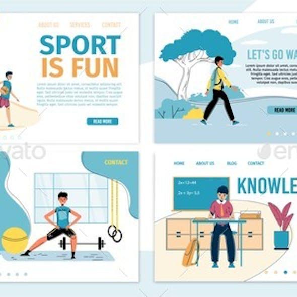 Kids Balanced Growth Education Landing Page Set