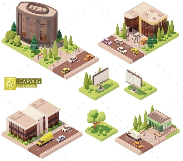 Vector Isometric Buildings and Street Elements - Buildings Objects