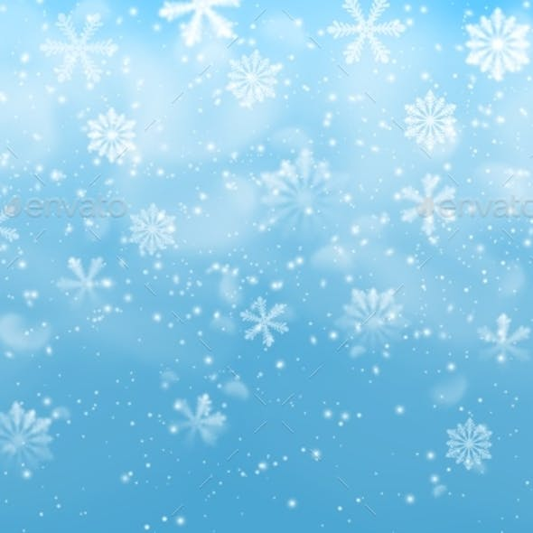 Realistic Snow Flakes on Blue Vector Background