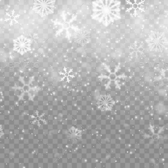 Realistic Snow Flakes Background Isolated Backdrop