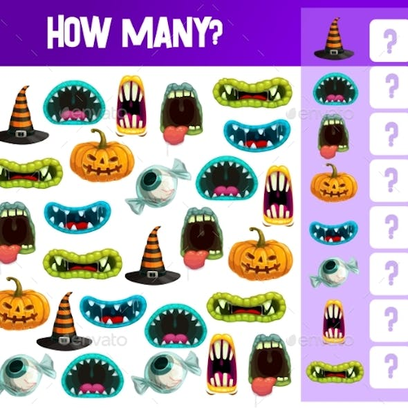 Halloween Counting Game Template, Kids Education
