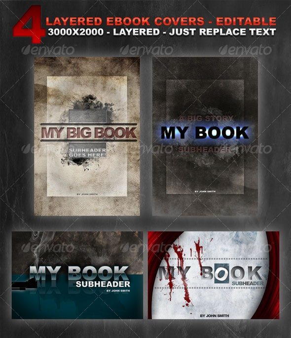 4 layered eBook covers - Miscellaneous Web Elements