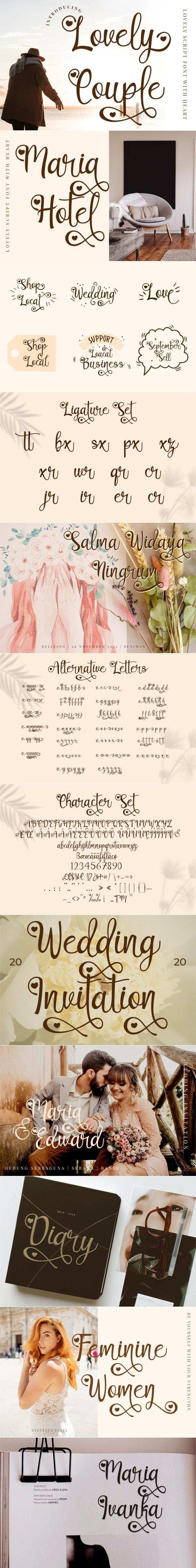 Lovely Couple - Romantic Script With Heart - Script Fonts