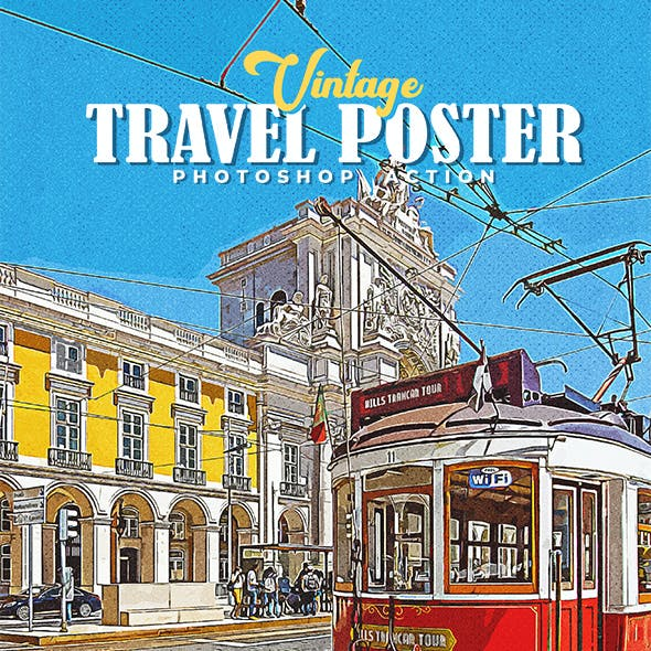 Vintage Travel Poster Photoshop Action