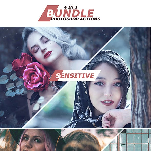 4 IN 1 Photoshop Actions Bundle October 2