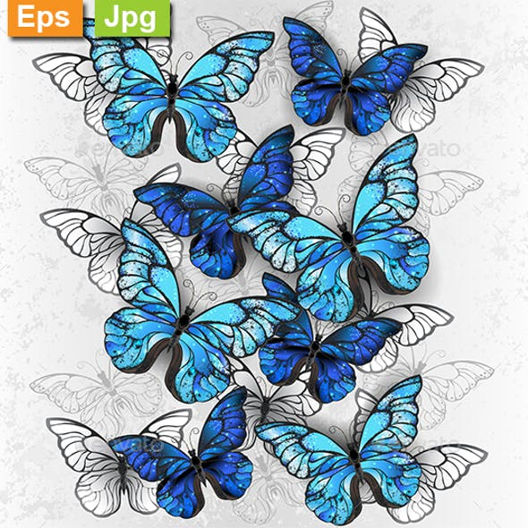 Composition of White and Blue Butterflies