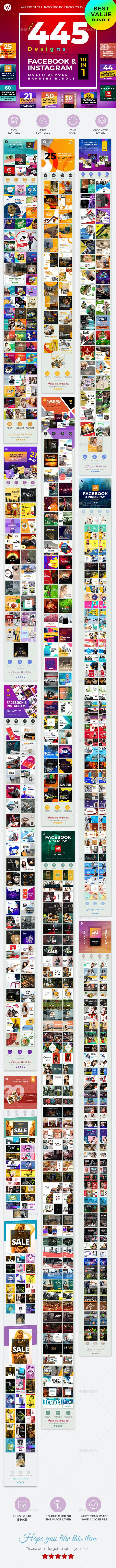445 Facebook & Instagram Banner Bundle - Social Media Web Elements