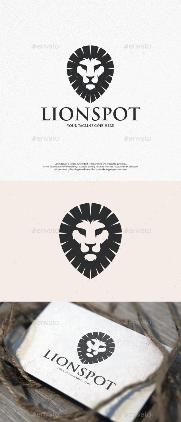 Lion Head Pin Vintage Logo - Animals Logo Templates