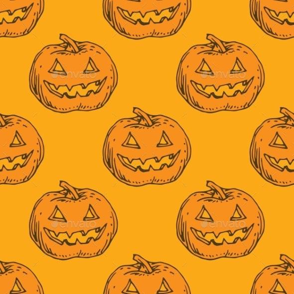 Seamless Orange Pattern. Pumpkins for Halloween - Halloween Seasons/Holidays