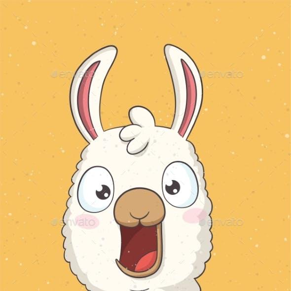 Funny Cartoon Llama