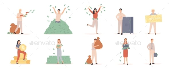 Rich Men and Women. Wealthy People with Moneybags - People Characters