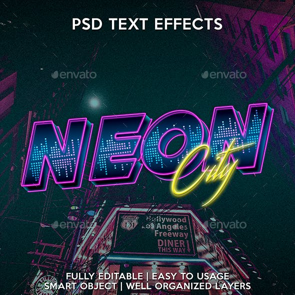 Neon City Text Effect Template