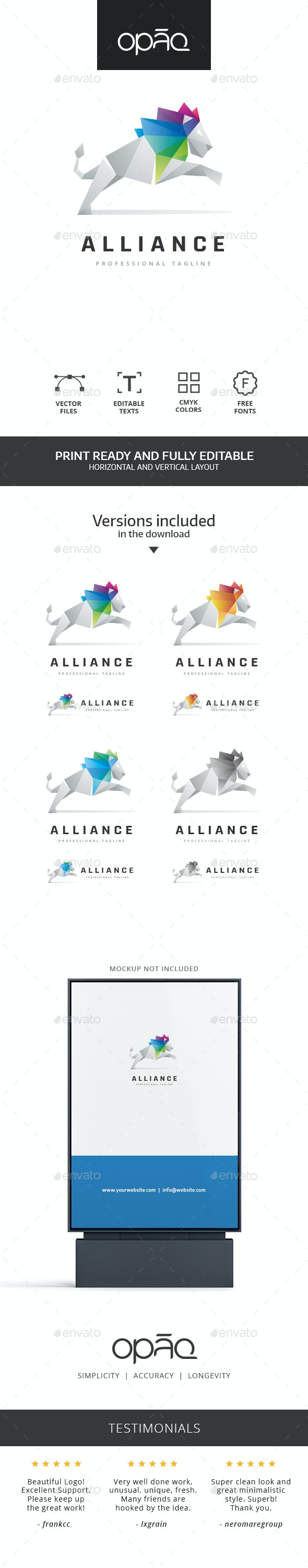 Brave Lion Jump Polygon Logo - Animals Logo Templates