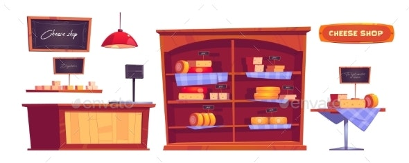 Cheese Shop Products and Interior Stuff Icons Set - Food Logo Templates