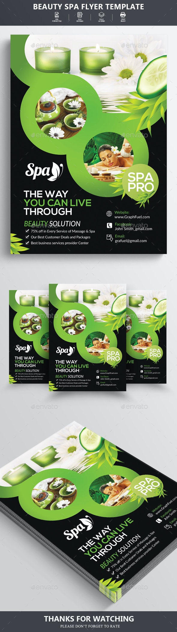 Beauty Spa & Massage Center Flyer - Flyers Print Templates