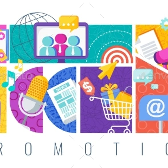 Promotion and Advertising Banner with Icon
