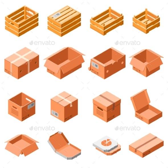Packing Box Icon Set Isometric Style