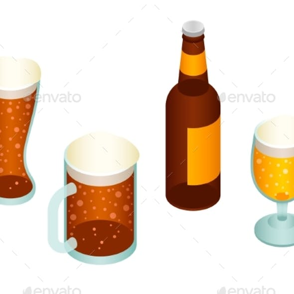 Beer Icon Set, Isometric Style