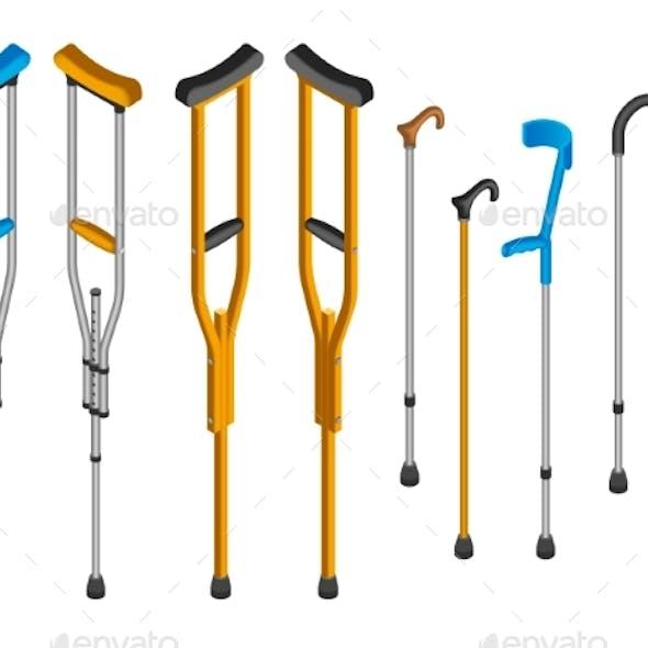 Injury Crutches Icon Set Isometric Style