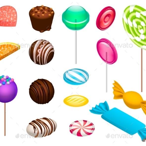 Sweet Candy Icon Set, Isometric Style