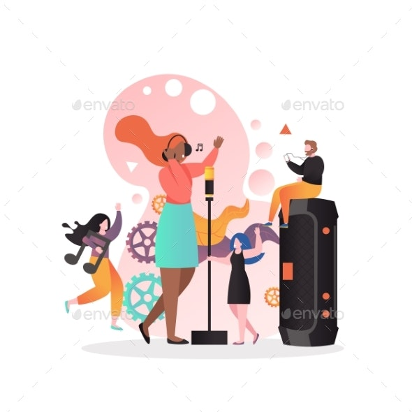 Singer Vector Concept for Web Banner, Website Page - People Characters