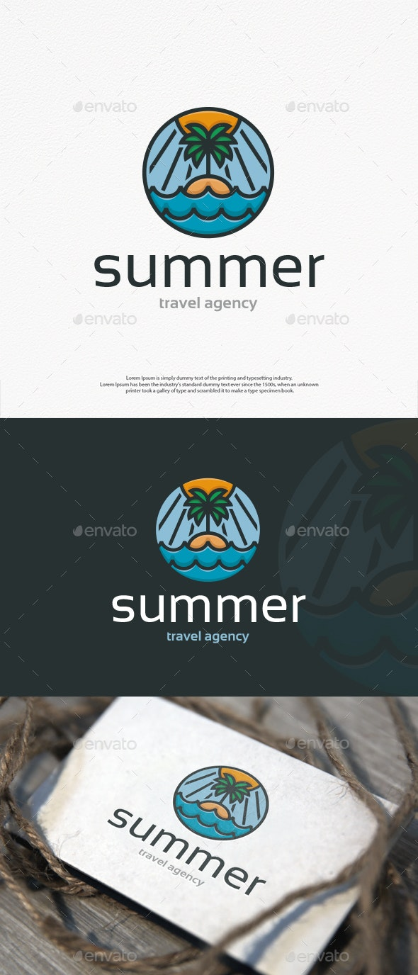 Summer Beach Island Logo Template - Nature Logo Templates