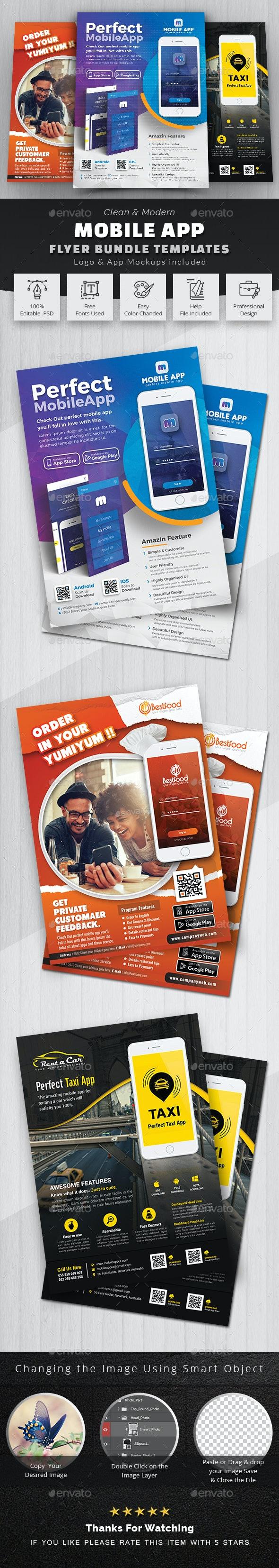 Mobile App Flyer Bundle - Commerce Flyers