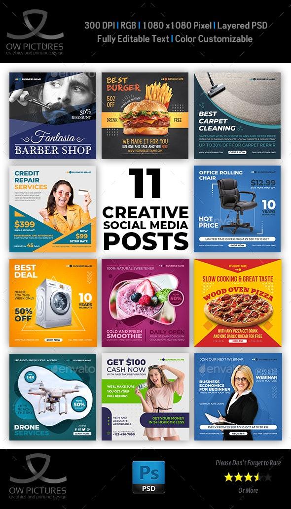 Social Media Posts Template - Social Media Web Elements