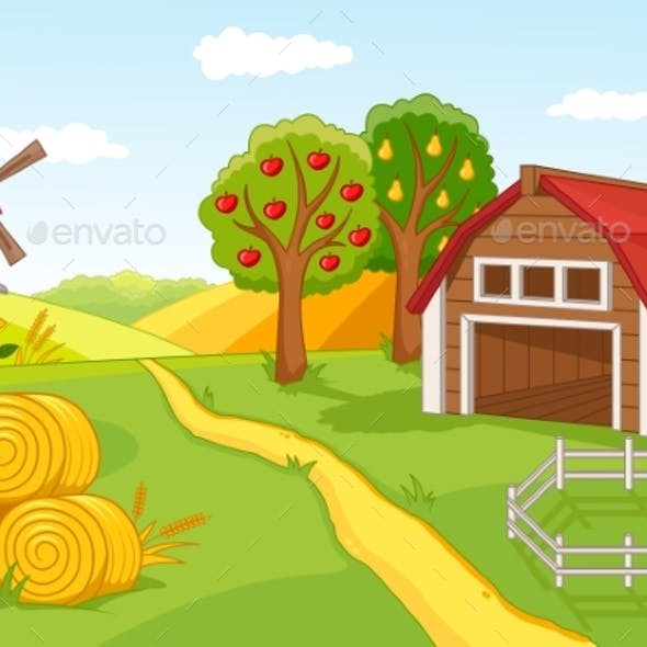 Colourful Farm Landscape with Fruit Orchard