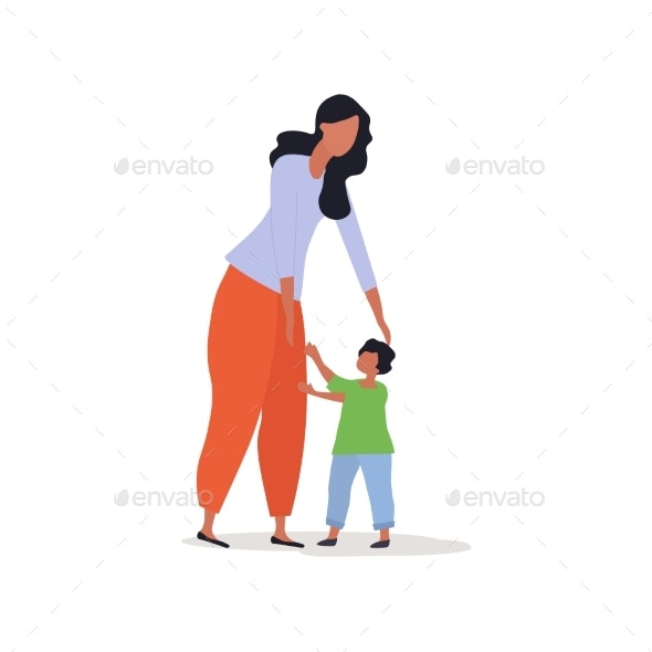 Mother with Little Child Vector Illustration - Miscellaneous Vectors