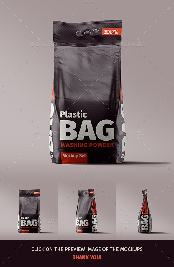 Plastic Bag Washing Powder Mockup Set - Miscellaneous Print