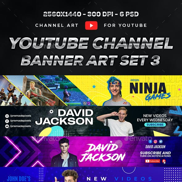 Youtube Banner Template Set 3