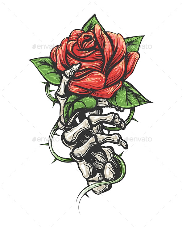 Skeleton Hand Holding Rose Flower Drawn in Vintage Tattoo Style - Tattoos Vectors