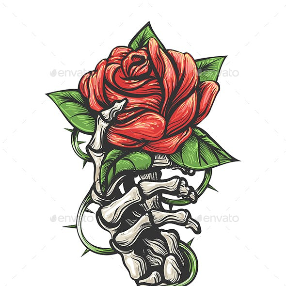 Skeleton Hand Holding Rose Flower Drawn in Vintage Tattoo Style