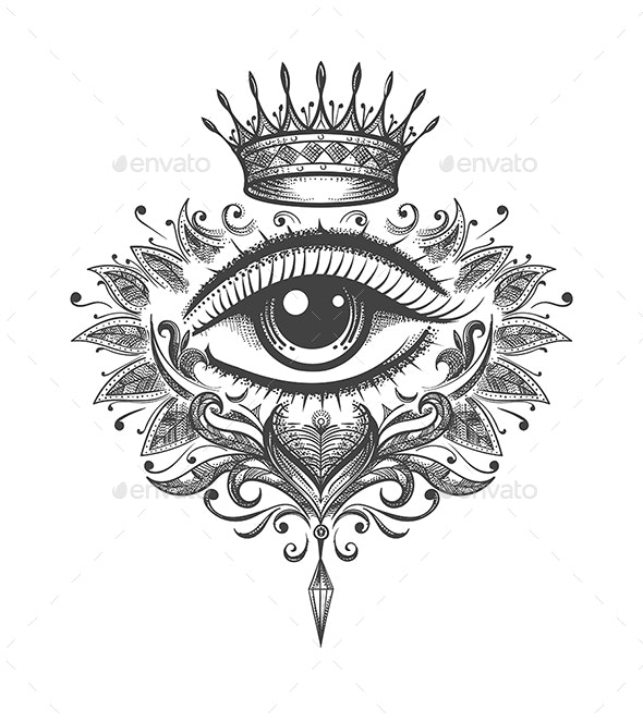 All Seeing Eye with Crown Tattoo - Tattoos Vectors